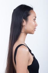 Asian Woman before make up hair style. no retouch, fresh face