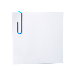 white sheet for notes with a paper clip