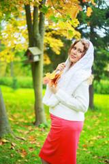 plussize model   in the autumn park