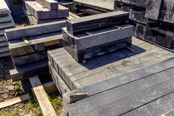 granite slabs for making tombstones in the warehouse