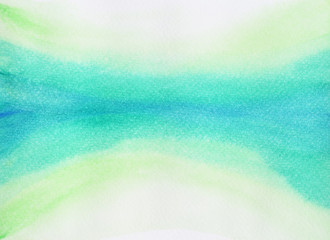 Tree and sky reflection on the lake , The blue stripe is narrowly squeezed on the green surface, Illustration abstract and bright background from watercolor hand draw on paper