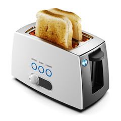 Two toasts of bread in a toaster isolated 3d