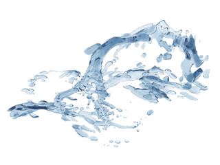 Splashing blue sparkling pure water. Abstract nature background