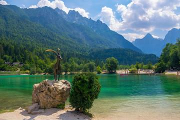 Scenic view of emerald water of Jasna lake near Kranjska Gora in Slovenia