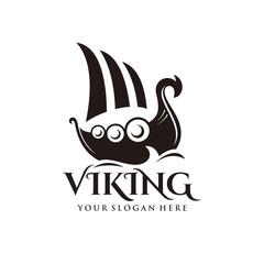 Viking ship logo vector