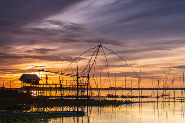 Fishing tools of fisherman in the morning  at Huai Luang dam, Udonthani province, Thailand.