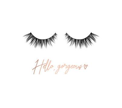 Hello gorgeous lashes inspirational design with lettering and eyelashes. Feminine inspirational print. Vector illustration.