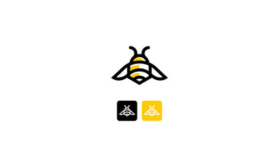 bee abstract technology vector icon logo