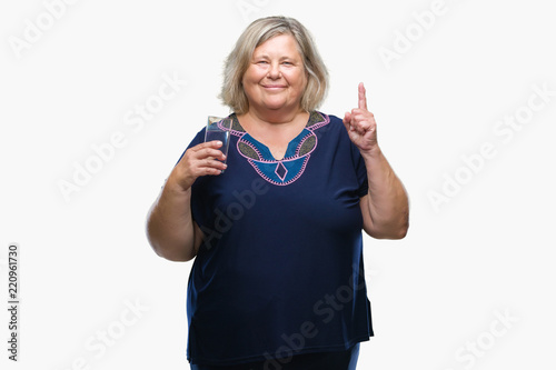 8d7643f43a0 Senior plus size caucasian woman drinking glass of water over isolated  background surprised with an idea