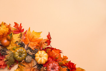 Bright autumnal background with copy space. Artificial autumn maple leaves, small pumpkins like autumn decor