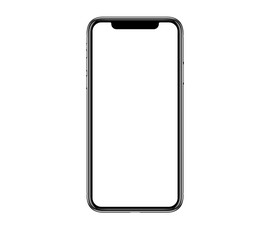 New realistic mobile phone smartphone mockup with blank screen isolated on white background