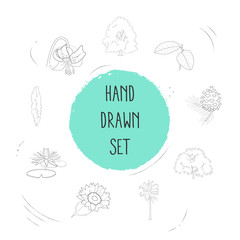 Set of plant icons line style symbols with walnut tree, tiger lily, water lily and other icons for your web mobile app logo design.