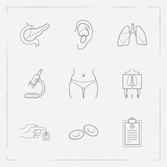 Set of organ icons line style symbols with x-ray, erythrocyte, medical record and other icons for your web mobile app logo design.