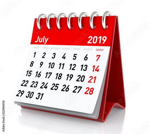 July 2019 Calendar Photo Libre De Droits Sur La Banque Dimages