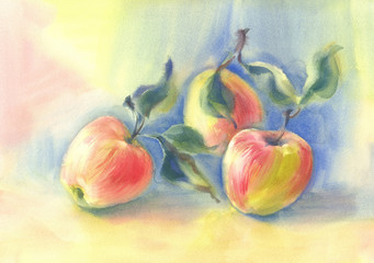 Red apples in the blue background watercolor still-life