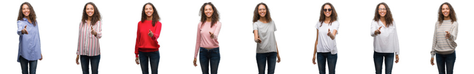 Composition of young brazilian woman isolated over white background smiling friendly offering handshake as greeting and welcoming. Successful business.