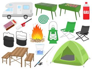 キャンプのイラストセット