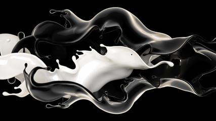 White and black liquid splash. 3d illustration, 3d rendering.