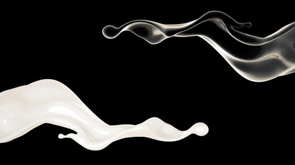 White and black liquid splash. 3d illustration, 3d rendering.
