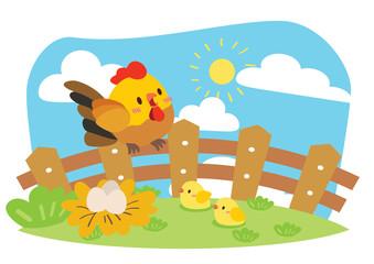cute chicken farm illustration vector