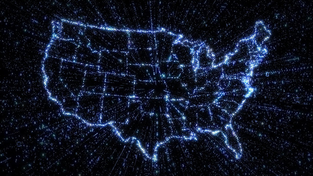 Glowing digital map of USA with exploding binary data