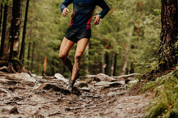 Fototapete - dirty runner athlete running down trail stones in woods