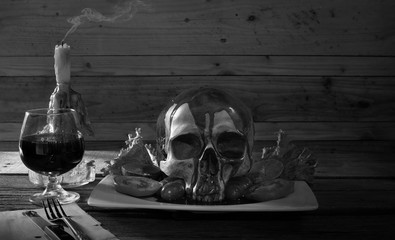Food for Halloween night and adjustment black and white for background..