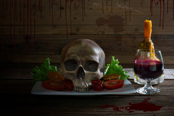 ood for Halloween night / Still Life image.Food for Halloween night