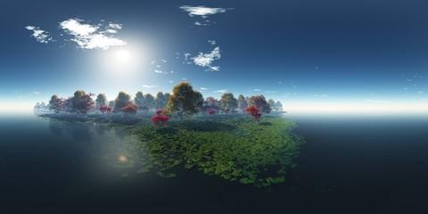 Beautiful autumn landscape. Environment map. HDRI . equidistant projection. Spherical panorama. panorama 360