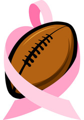 Football wrapped in a Breast Cancer Awareness pink ribbon that forms the shape of a heart.