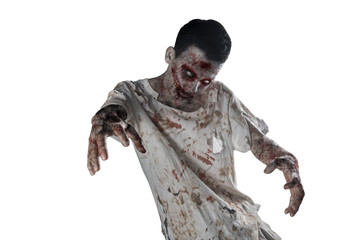 Creepy male zombie with bloody mouth on studio