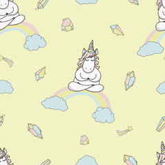 Magic cute unicorn yoga Seamless Vector Pattern. Vector background