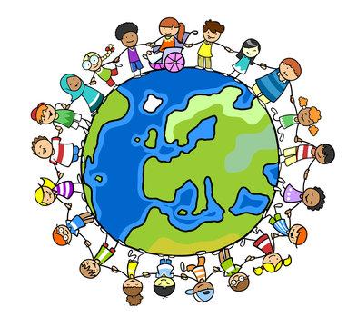 Gruppe Kinder auf Welt im Frieden hält Hände