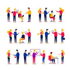 Office life, people work with computers, teamwork, meetings, team, brainstorming. Flat style vector illustration.