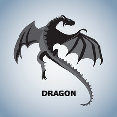 Dragon. Mythical animal. Flying dragon. Design for printing on paper or textiles.