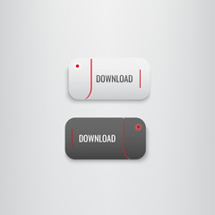 Button set Download red-black