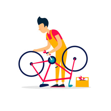 Bicycle Repair. Flat style vector illustration.