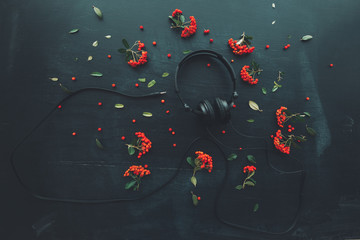 Flat lay audio headphones on dark background