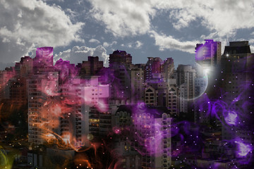 Illustration of images, commercial buildings and images of space with double exposure.