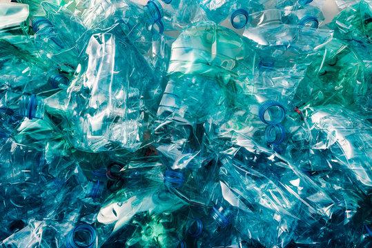Crushed plastic bottles heap