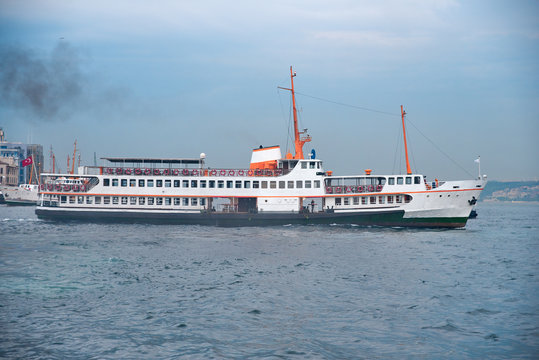 The passenger ship is on the Bosphorus in Istanbul.