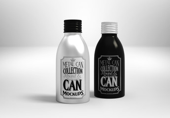 Metal Twist Cap Bottles Mockup