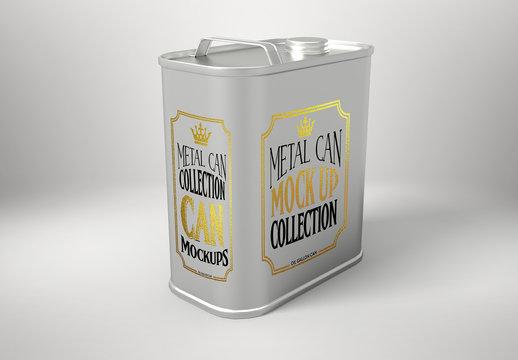 Metal Gallon Oil Can Mockup