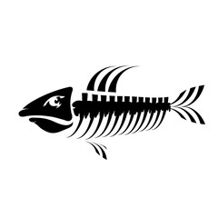 Fish Bone Skeleton Symbol. Sea Fishes Icons.