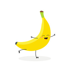 Vector illustration of happy cartoon banana rollerblading