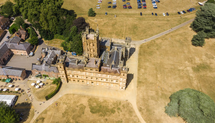 Fotobehang Kasteel Aerial view of the Highclere castle and park Hampshire