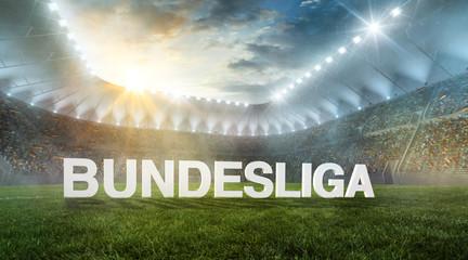 Bundesliga als Text im Stadion