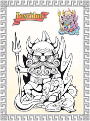 coloring book, ancient greek god poseidon, sits on the throne