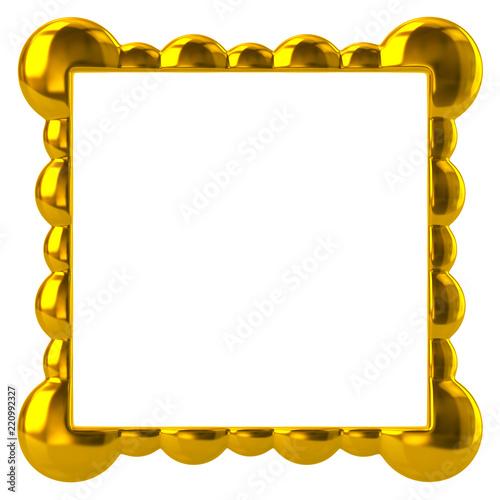 Golden frame for painting 3d illustration on white background\