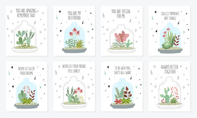 Vector postcard collection with cute house plants under glass